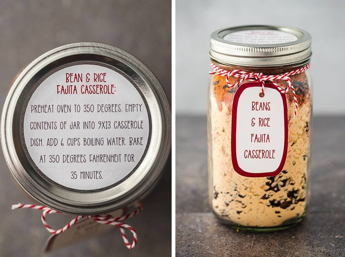Close up shots of the instructions label and optional gift tag for the Bean & Rice Fajita Casserole Meal in a Jar