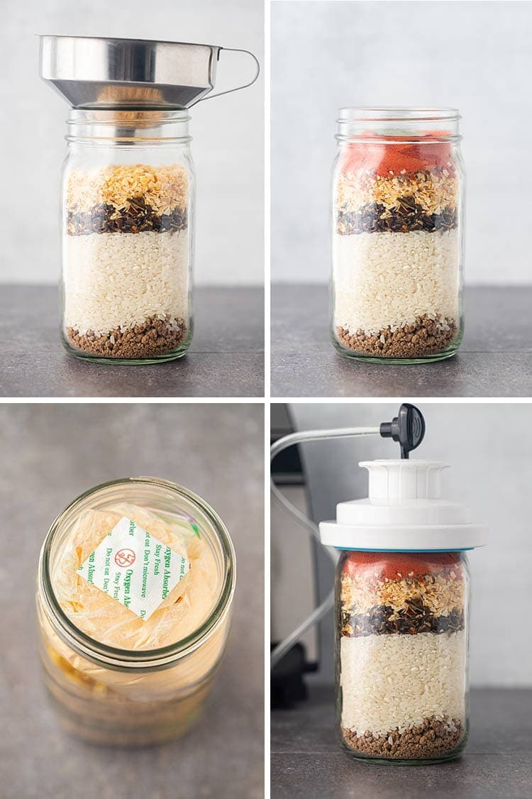 Collage showing process shots of how to make Beef Taco Rice Meal in a Jar.