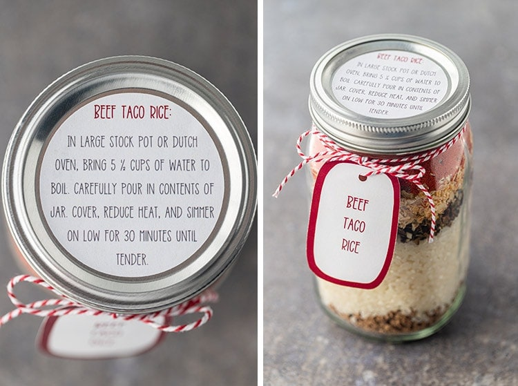 Collage of pictures showing the printable instruction label and optional gift tags for Beef Taco Rice Meal in a Jar.