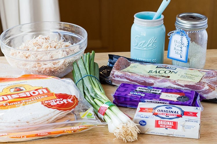 Ingredients to make Chicken Bacon Ranch Taquitos freezer meal.