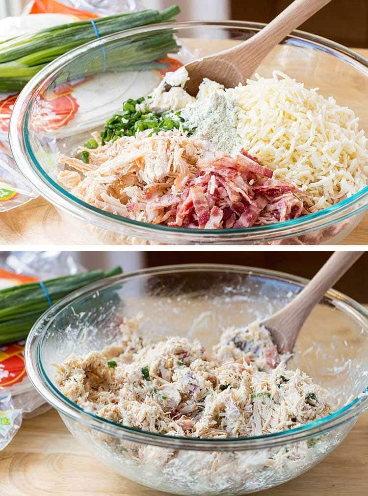 Two pictures showing how to mix the filling ingredients for Chicken Bacon Ranch Taquitos.