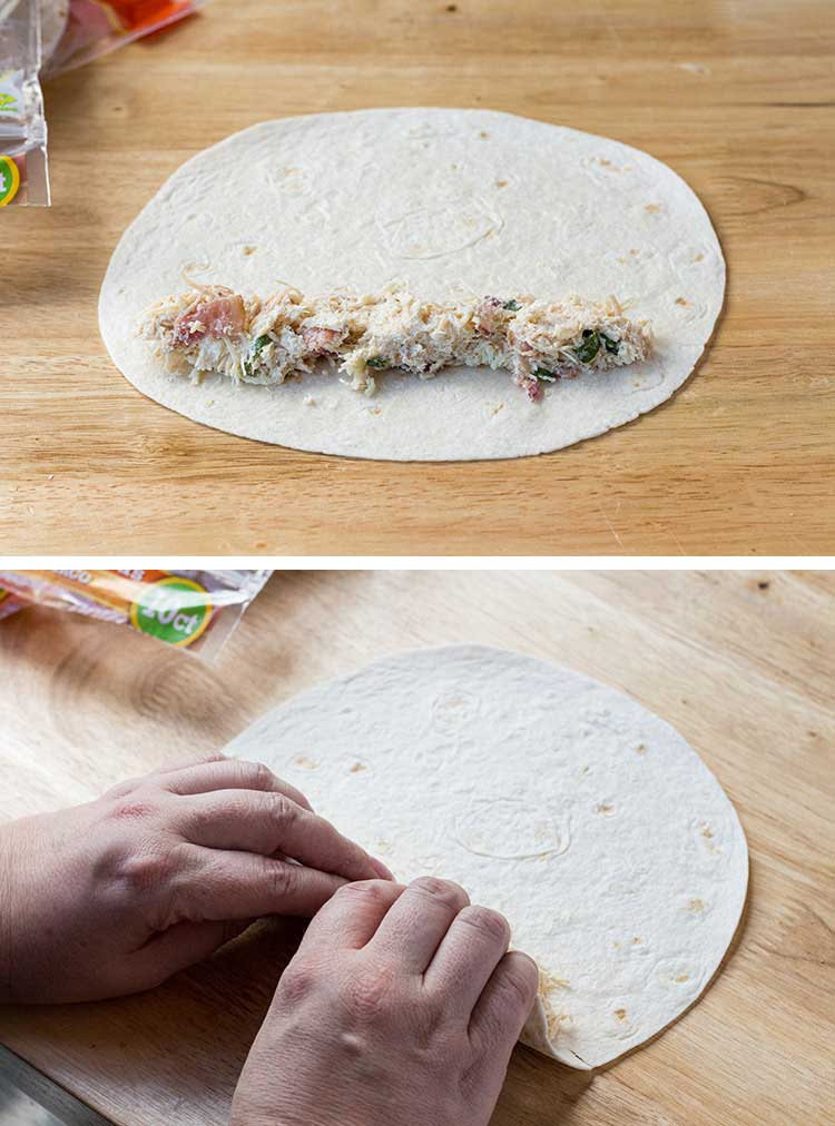 Two pictures showing how to spread filling on the tortilla and roll the Chicken Bacon Ranch Taquitos.