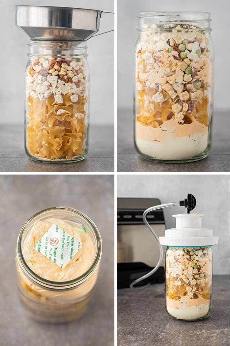 Collage of four photos showing the process for putting together the Chicken Noodle Skillet Meal in a Jar.