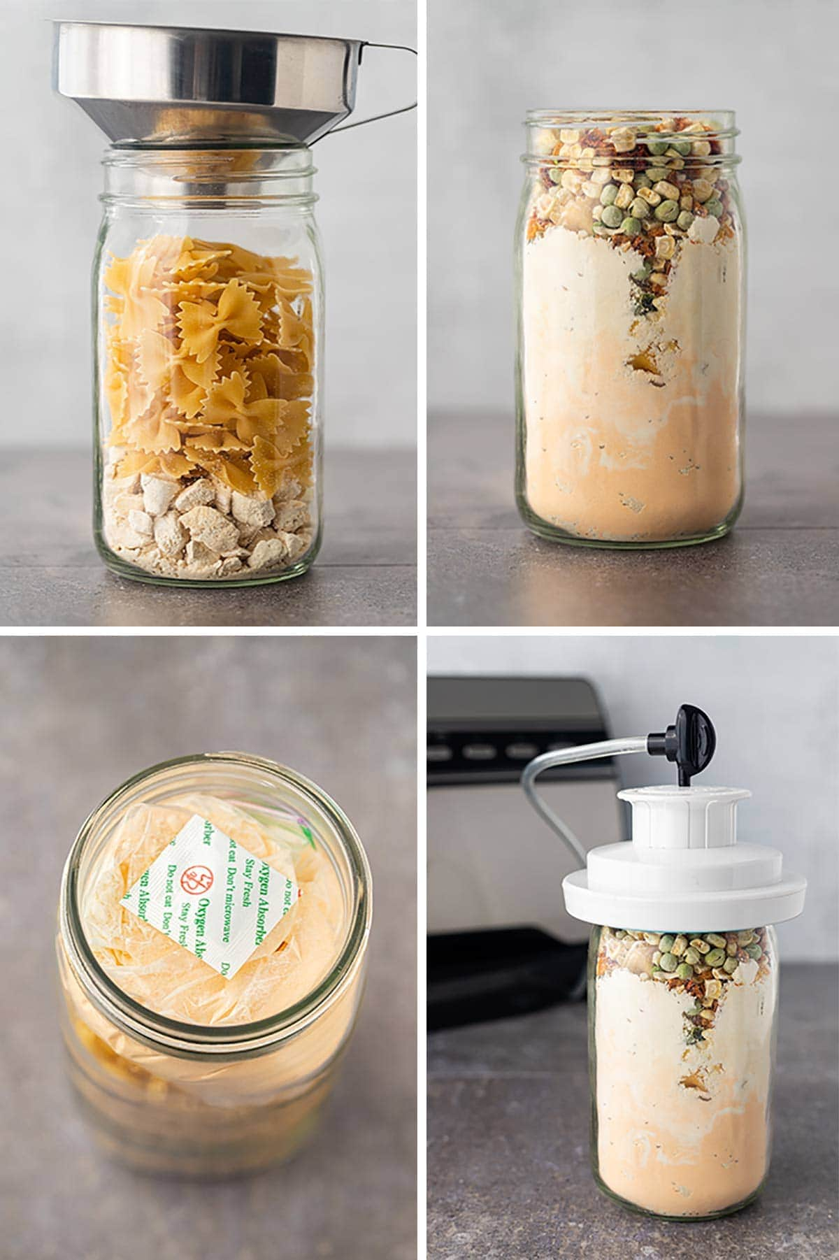 Collage of process steps showing how to fill the jar to make Creamy Chicken Veggie Casserole meal in a jar and seal effectively.
