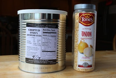 Examples of packages of dry minced onion from LDS Home Storage Centers and from Sam's Club.