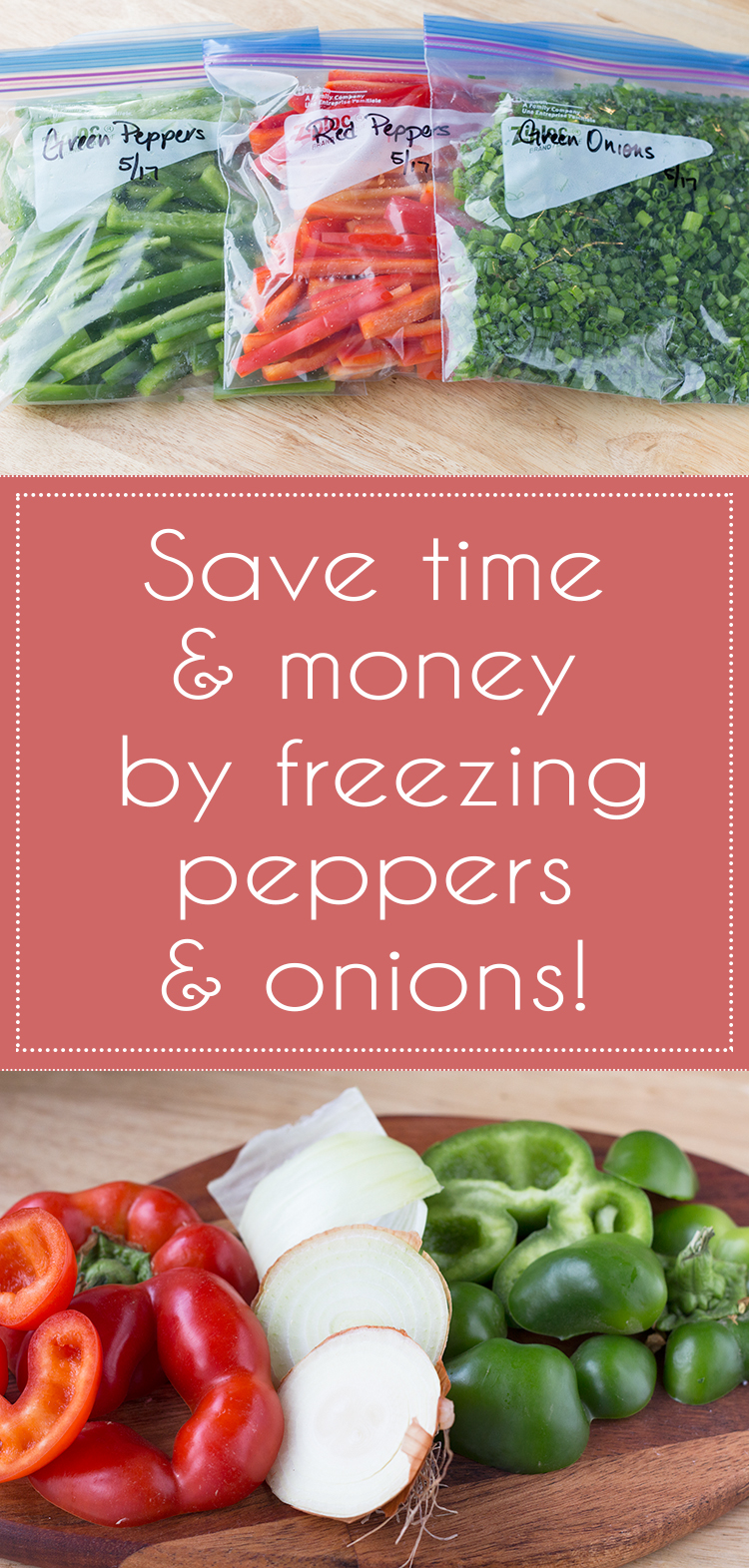 Save money freeze peppers onions