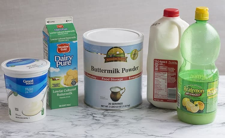 Ingredients used to substitute for buttermilk in cornbread recipe.