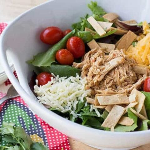 Cafe Rio Chicken served over a southwestern style salad
