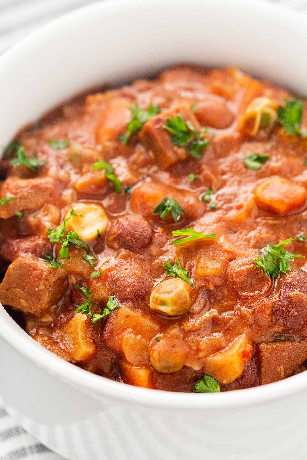 Close-up shot of Beef And Bean Stew Meal in a Jar ready to eat.