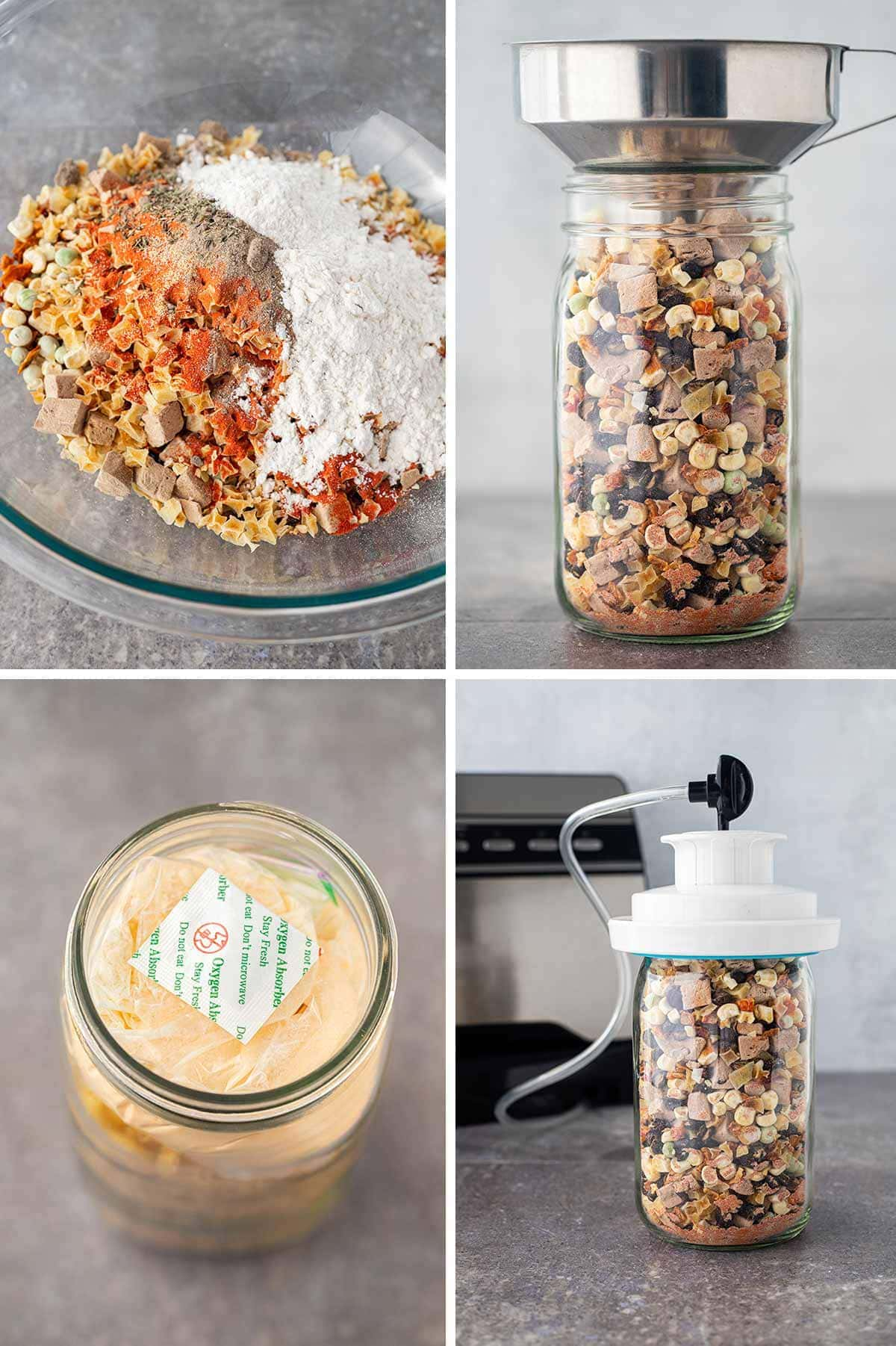Collage of four photos showing the steps to putting together the Beef And Bean Stew Meal in a Jar recipe.