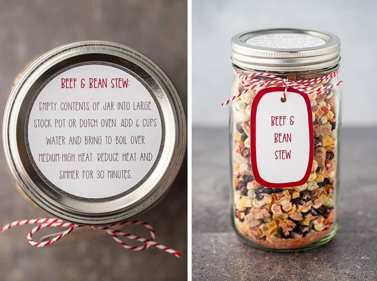 Collage of two photos showing the instruction label and gift tag option for the Beef And Bean Stew Meal in a Jar.