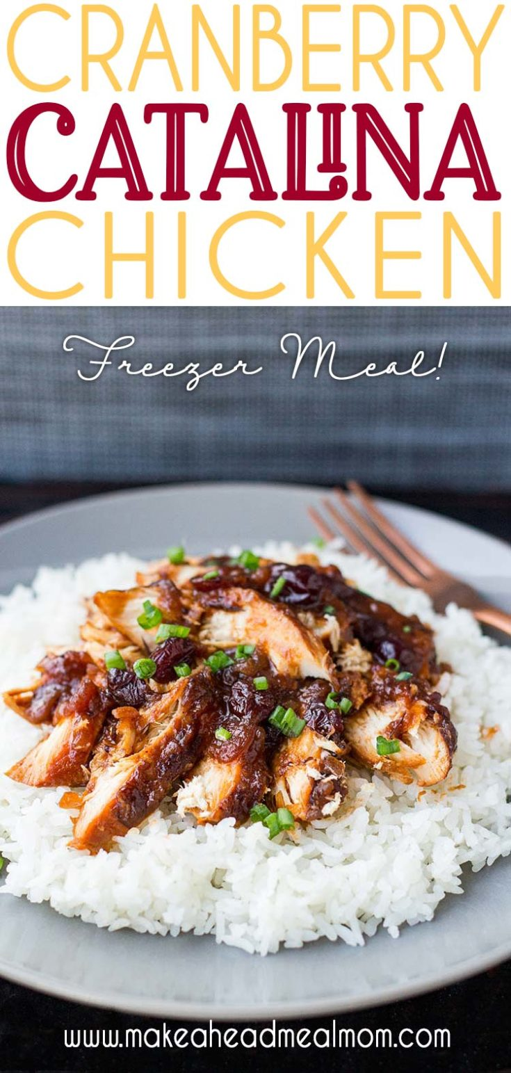Dinner doesn't get much easier than this simple Cranberry Catalina Chicken freezer meal!!Two minutes to toss it all in a bag and you're done! Don't let the ingredients scare you - this is a delightful meal that is a great balance of sweet and savory! #freezermeals #makeahead #easydinner #slowcooker #cranberrychicken #freezerfriendly