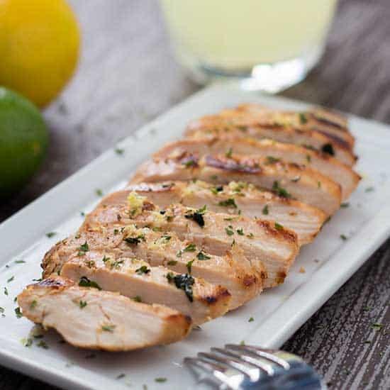 Sliced Grilled Lemonade Chicken on plate
