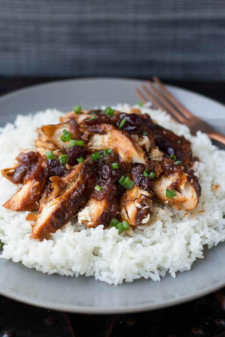 Cranberry Catalina Chicken served over rice