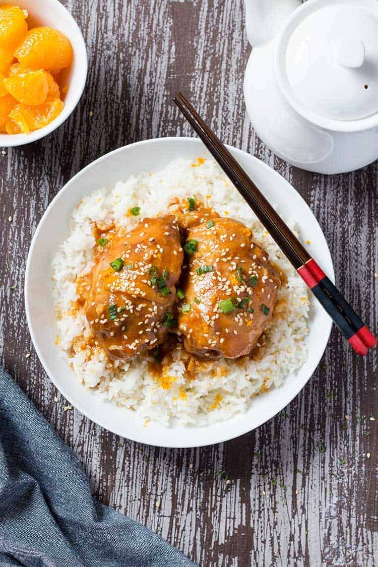 Sesame Orange Chicken Overhead