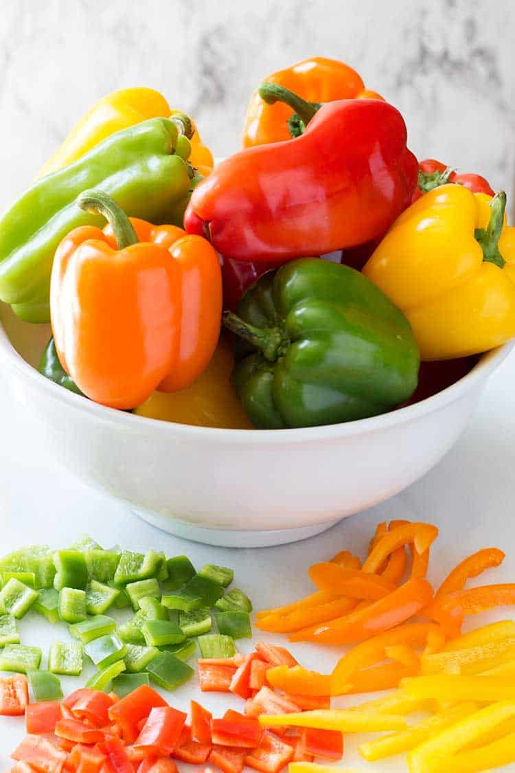 Freezing Bell Peppers in Bowl
