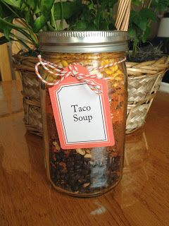 Meal in a Jar Taco Soup shown packaged in quart-sized wide-mouth mason jar with printable label tag