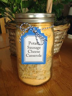 Meal in a Jar: Potato Sausage Cheese Casserole | A great meal in a jar that works for breakfast or dinner! What is not to love about sausage and cheesy hash brown potatoes?!