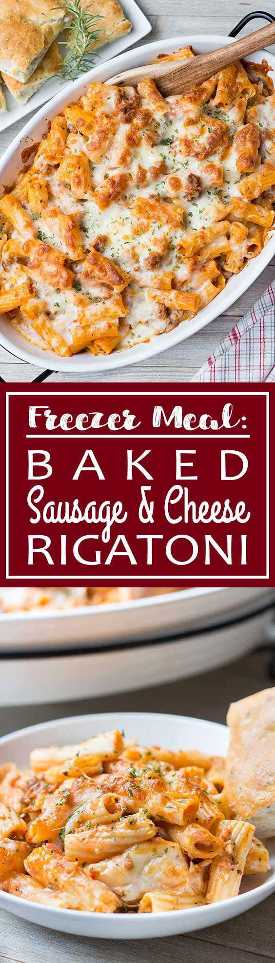 Freezer Meal: Baked Sausage & Cheese Rigatoni | It's meaty, it's cheesy and it's loaded with delicious carbs!! Great for when your stressed and spaghetti and meatballs just doesn't cut it! This is a fabulous meal to have in your freezer all ready to go!