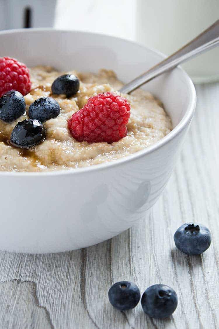 Instant Oatmeal Berries Closeup