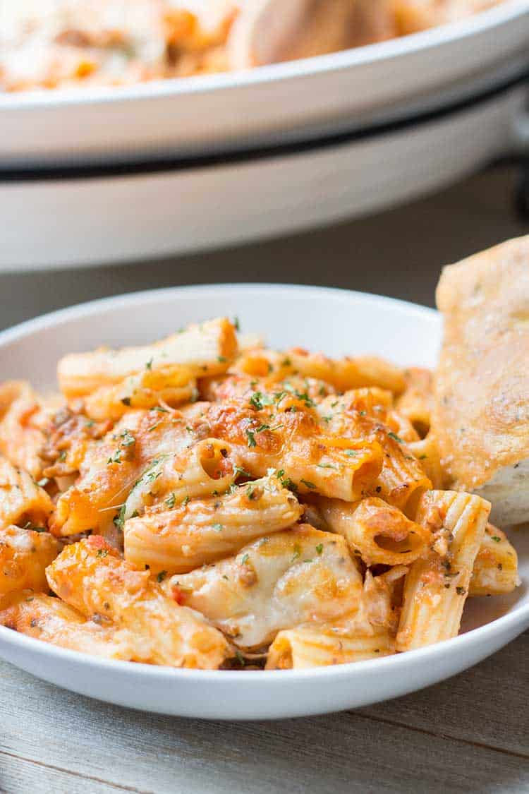 Baked Sausage & Cheese Rigatoni with bread