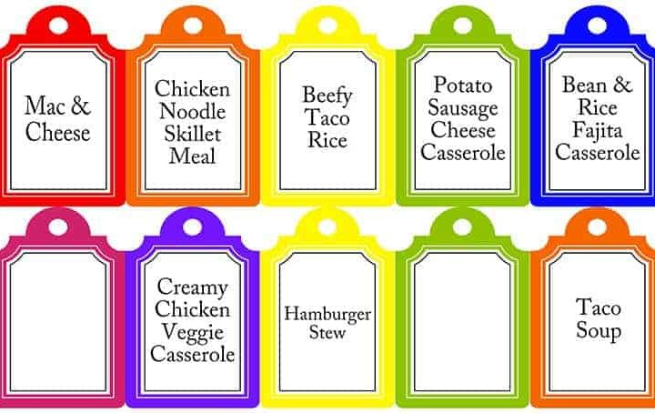 Meals in a Jar Printable Tags