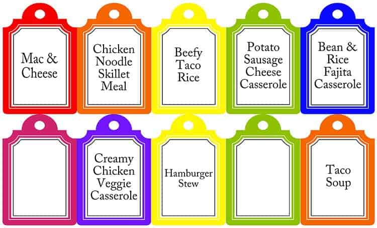 Meals In A Jar: Printable Tags