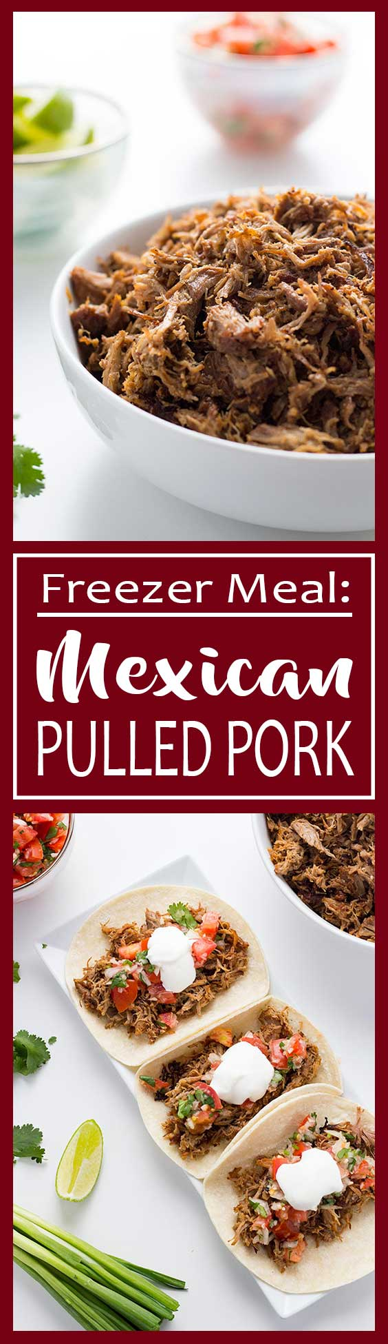 A great dinner multitasker, this Mexican Pulled Pork (Carnitas) can be cooked in the slow cooker or pressure cooker, and can be used in a variety of meals! Cook once and eat in different meals all week!!