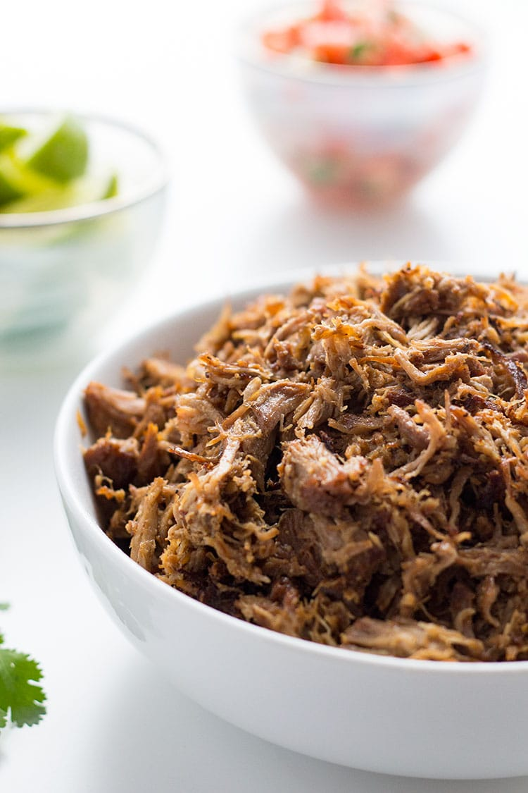 Mexican Pulled Pork Carnitas shredded in bowl with garnishes