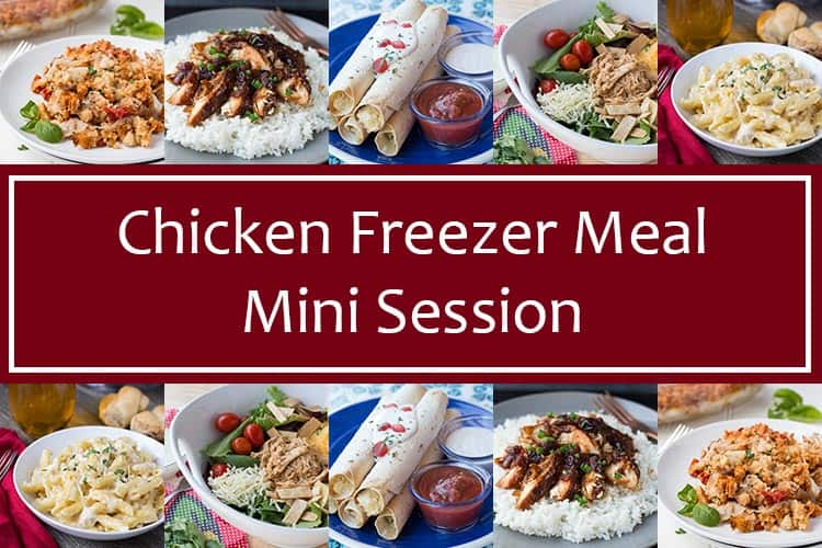Chicken Freezer Meal Mini Session graphic with photos of recipes