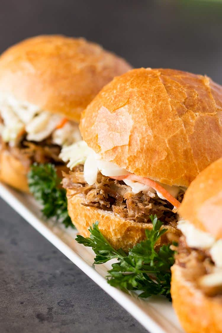 Easy Smokey Pulled Pork sandwiches on rectangular plate