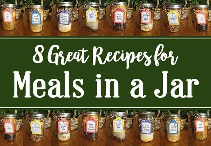 Eight Great Meals in a Jar banner graphic with pictures of meals in jars