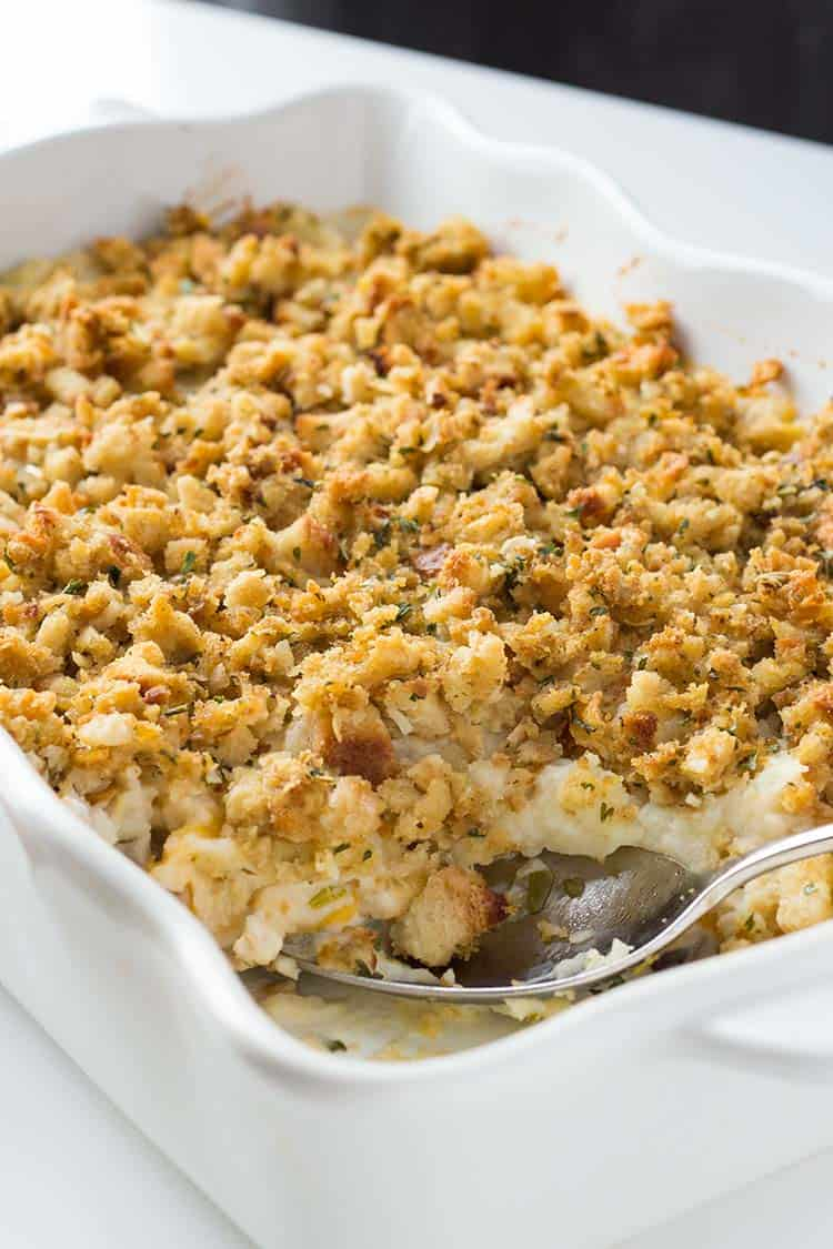 Thanksgiving Casserole in casserole dish