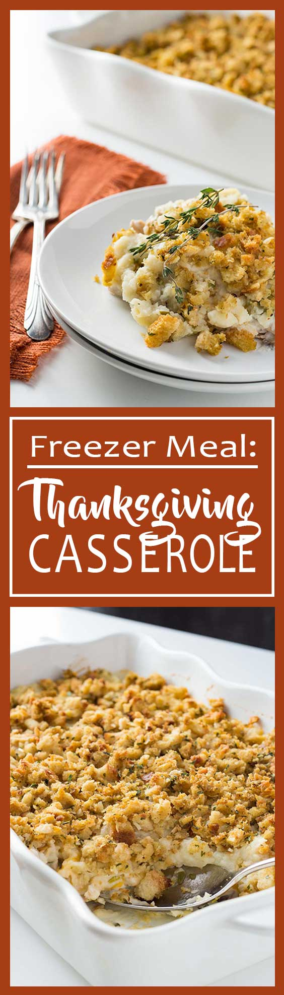 Don't waste your Thanksgiving leftovers - use them to make this easy freezer meal! You'll get all the delicious flavors of Thanksgiving dinner in one easy dish, but without all the hard work! #Thanksgiving #freezermeals #casserole #leftovers