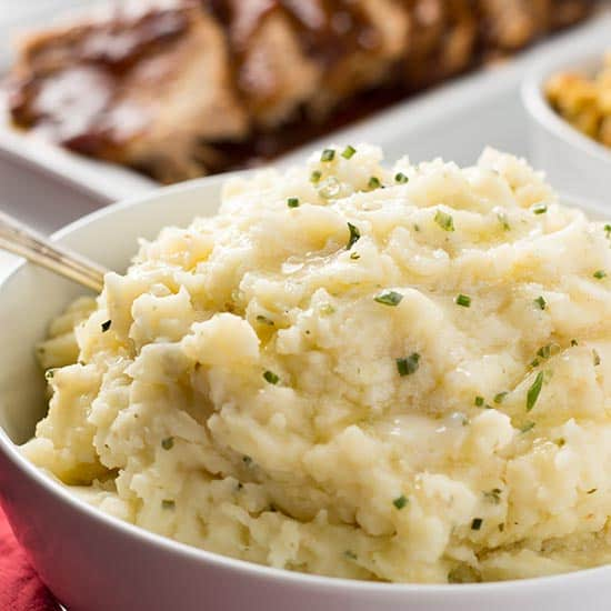 Garlic Herb Mashed Potatoes on table