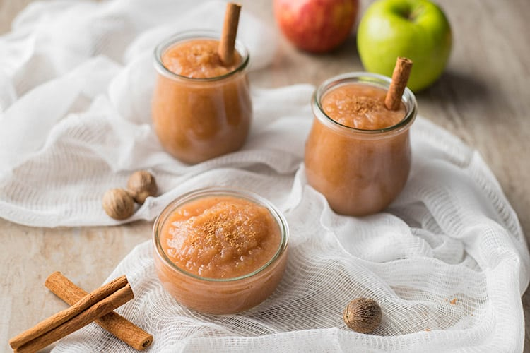 Easy Instant Pot Applesauce in three jars on table