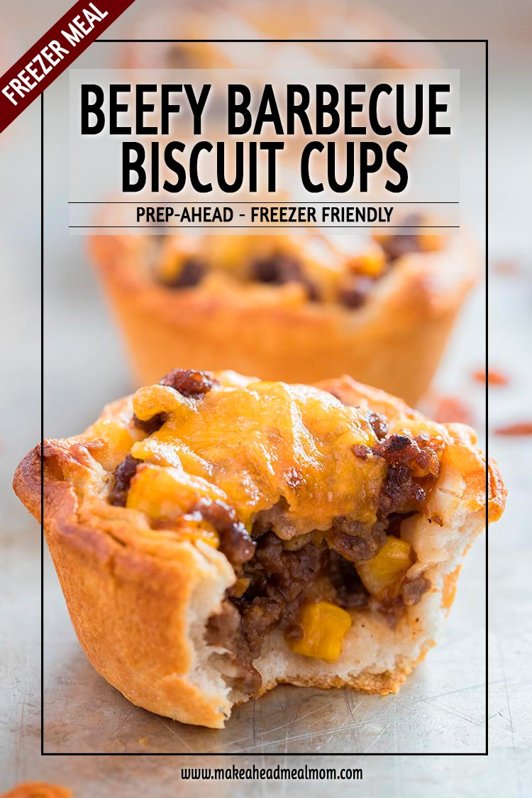 This Beefy Barbecue Biscuit Cups freezer meal is a family favorite - loved by young and old alike! Prepared them ahead of time and freeze, then pull out later when needed and reheat. Or use these for your weekly meal preps, too! If they last that long, that is... #freezermeal #freezerfriendly #makeahead #makeaheadmealmom #easydinner #beef