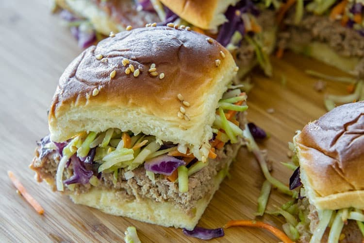 Prep-Ahead Teriyaki Sliders with Broccoli Slaw