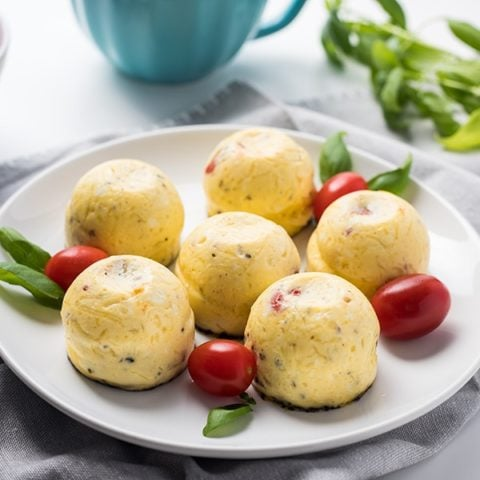 Plate of Instant Pot Caprese Egg Bites