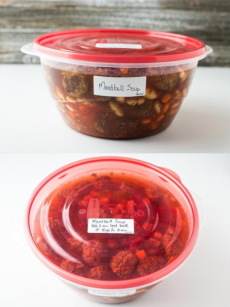 Instant Pot Meatball Soup in a large round plastic container labeled to come into the freezer for later use