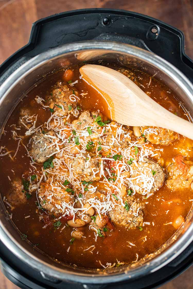 An overhead view of Instant Pot Meatball Soup as cooked in the pressure cooker