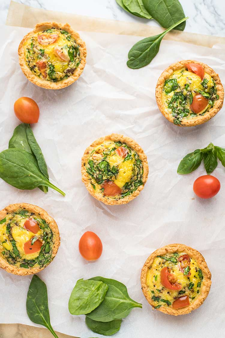 LowCarb Mini Quiches set out on the counter, shown from directly above