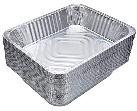"""DOBI (30-Pack) Aluminum Pans 9"""" x 13"""" - Disposable Aluminum Foil Trays for Baking, Cooking or Lining Deep Steam Table Pans"""