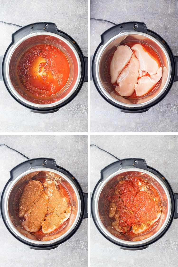 Overhead process shots showing how to layer ingredients for Instant Pot Salsa Chicken in the pressure cooker.