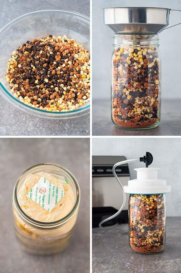 Collage of four photos showing process of making Taco Soup in a Jar.