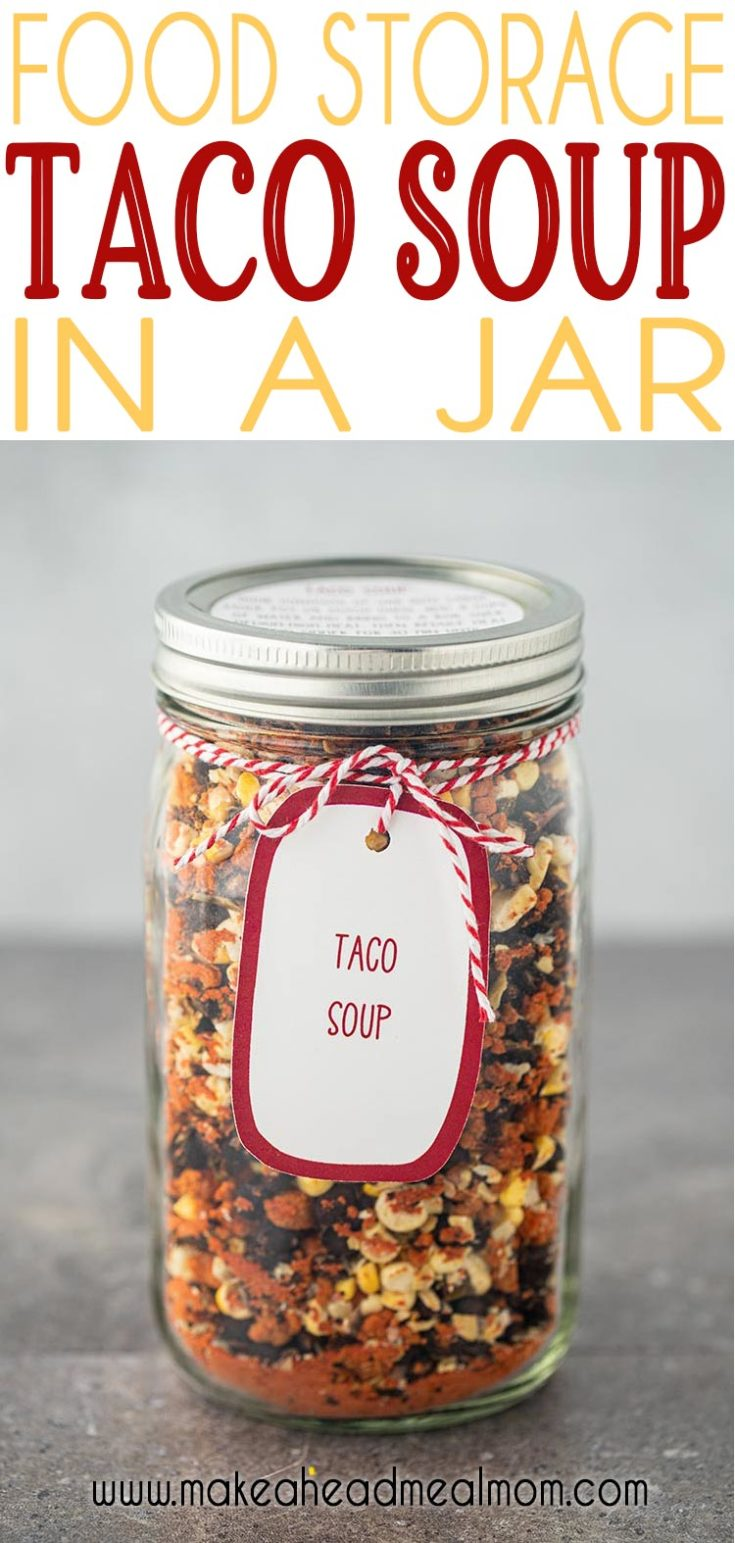 This is Taco Soup in a Jar is full of delicious south of the border flavors you can enjoy any time without all the work. Whether for food storage or just for crazy night dinner emergencies, having this Taco Soup Meal in a Jar can be a lifesaver! Just add water and cook!! #mealinajar #tacosoup #mealsinajar #foodstorage #makeahead #easydinner #foodgifts #neighborgifts