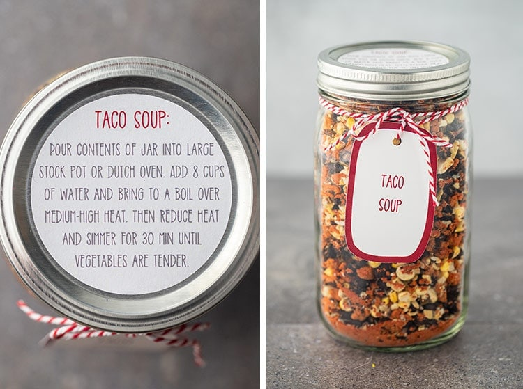 Closeup shots of the instruction label and optional gift tag for making Taco Soup in a Jar.