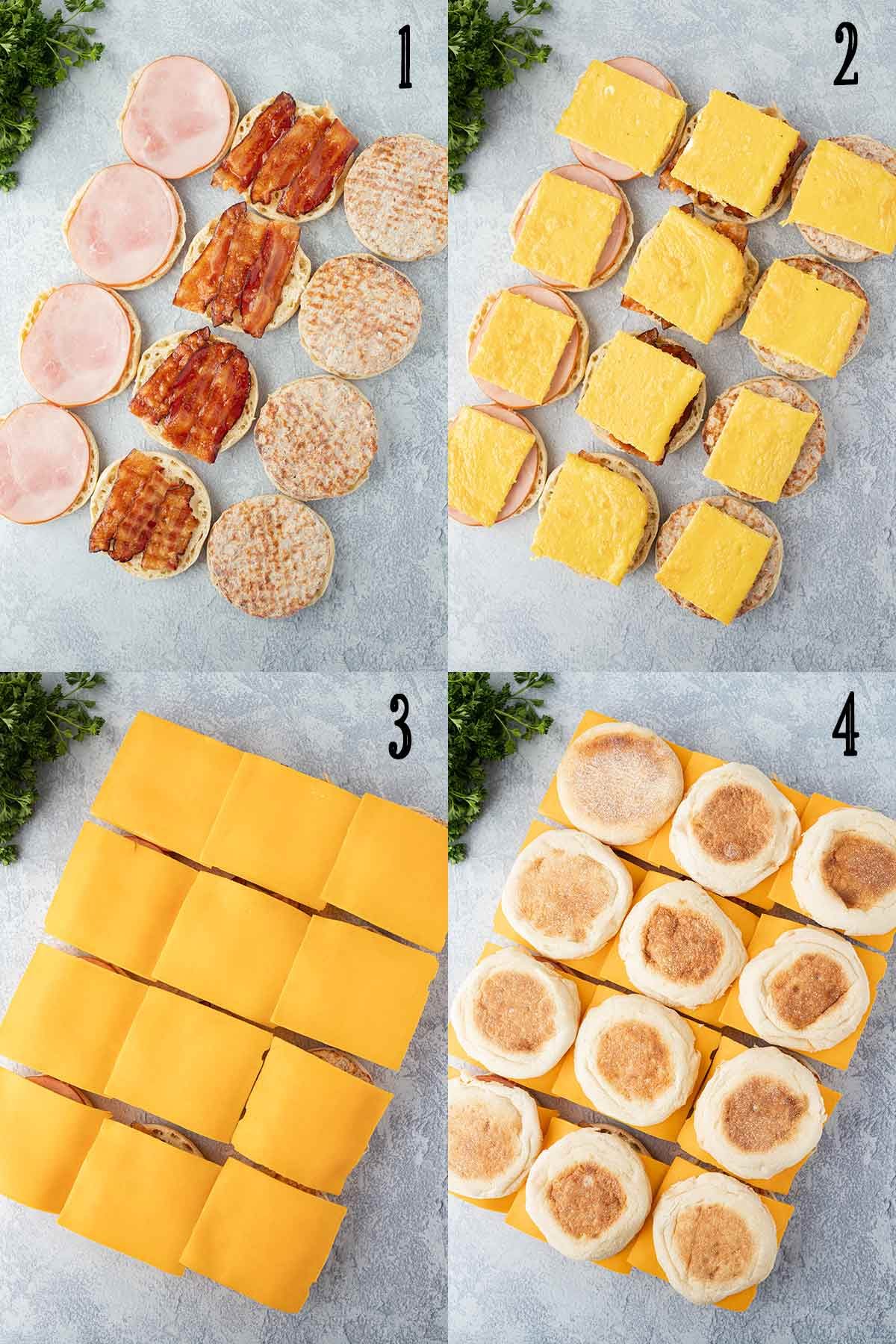 Collage of four photos showing the steps needed to assemble the sandwiches, including adding the meat, then the eggs, then the cheese slices.
