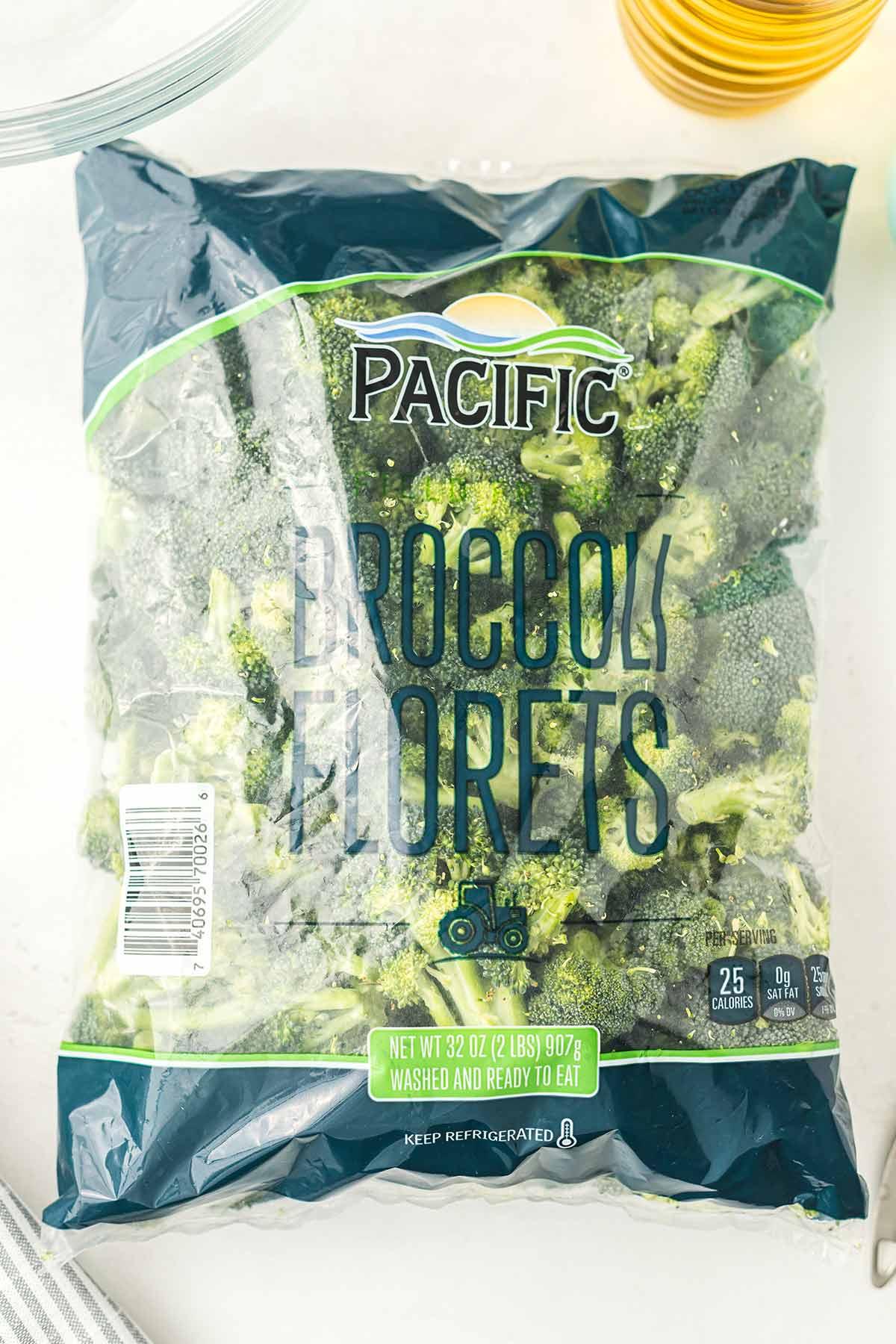 Overhead shot showing bag of broccoli florets.