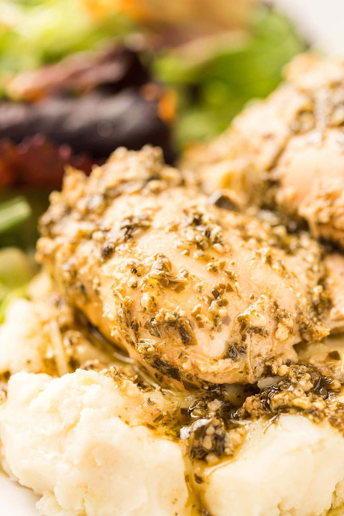Close-up shot of Pesto Ranch Chicken.